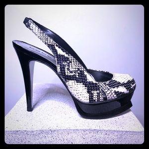 BeBe Zahara Black and White Snake Heel Size 7 -NIB